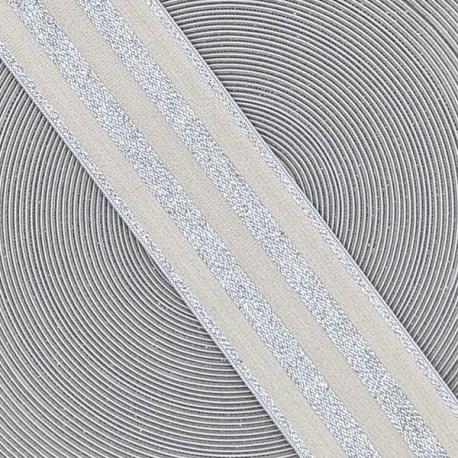 Goma elástica ancha de 4cm extra-suave plateada
