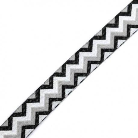 Cinta tejida decorativa geométrico gris